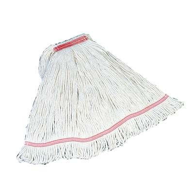 Loop Wet Mop Heads, Cotton / Synthetic, White, Medium