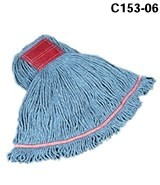 Swinger Loop Wet Mop Heads, Cotton / Synthetic, Blue, Large