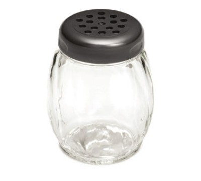 TableCraft P260BK Swirl Plastic 6 oz. Shaker with Black Perforated Plastic Top