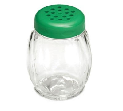 TableCraft P2P260GR Swirl Plastic 6 oz. Shaker with Green Perforated Plastic Top