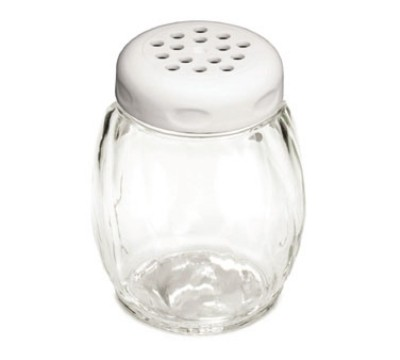 TableCraft P260WH Swirl Plastic 6 oz. Shaker with White Perforated Plastic Top