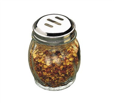 TableCraft 260SL-1 Swirl Glass 6 oz. Cheese Shaker with Chrome Plated Slotted Top