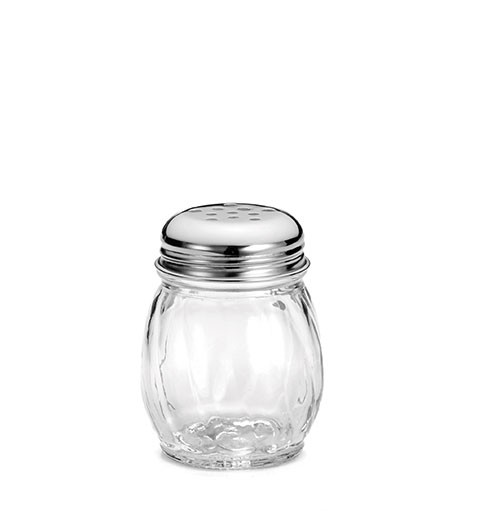 TableCraft 1260 Swirl Glass Perforated Cheese Shaker 6 oz.