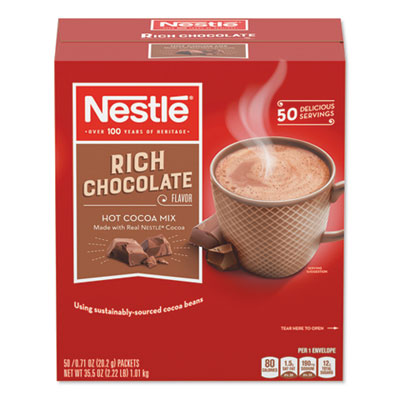 Swiss Miss Hot Cocoa Mix, Rich Chocolate, 0.71 oz. Packets, 50/Box, 6 Box/Carton