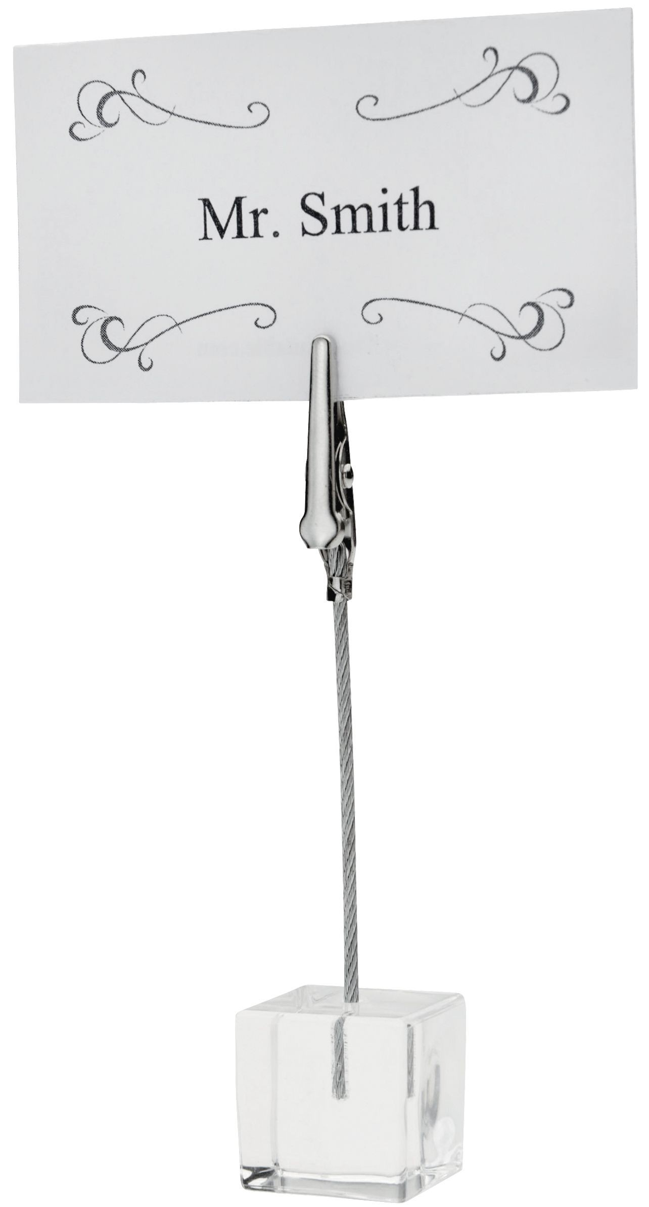 Winco TCD-4S Table Sign Clip with Acrylic Square Base