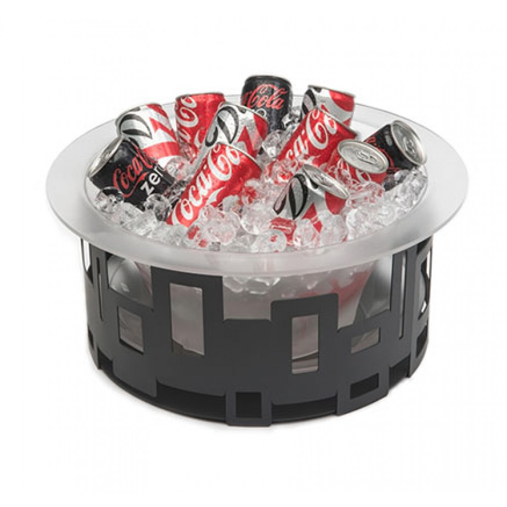 "Rosseto SM181 Tall Round Stainless Steel Ice Tub With Frosted Acrylic Ice Bath & Drip Tray Insert 17"" x 17"" x 7"""