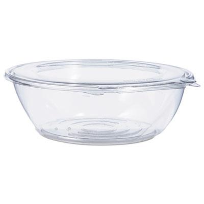 Tamper-Resistant, Tamper-Evident Bowls with Flat Lid, 48 oz, Clear, 100/Carton