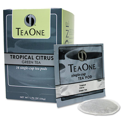 Tea One Tea Pods, Tropical Citrus Green, 14/Box