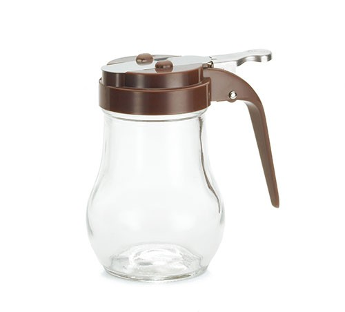 TableCraft 406B Teardrop Glass 6 oz. Syrup Dispenser with Brown ABS Top