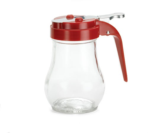 Teardrop Glass 6 Oz. Syrup Dispenser With Red ABS Top