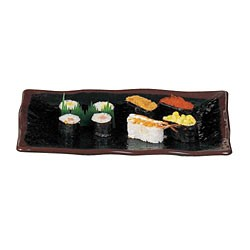 "Thunder Group 2412TM Tenmoku Rectangular Melamine Wave Plate 11-1/4"" x 7-1/4"""
