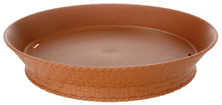 "G.E.T. Enterprises RB-894-TER Terra Cotta Plastic 7-1/4"" Round Basket with Base"