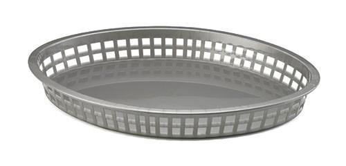 "TableCraft 1086GM Gunmetal Gray Oval Plastic Texas Platter Basket, 12-3/4"" x 9-1/2"" x 1-1/2"""