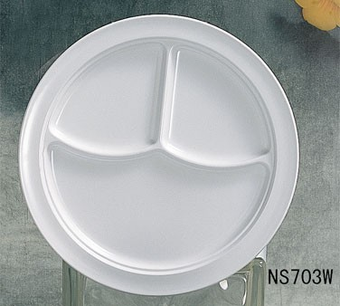 Thunder Group NS703W Nustone White Melamine Three-Compartment Plate 10-1/4""