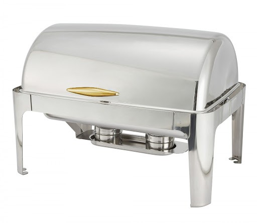TigerChef Full Size Stainless Steel Roll Top Oblong Chafing Dish 8 Qt. W/ Gold Handle