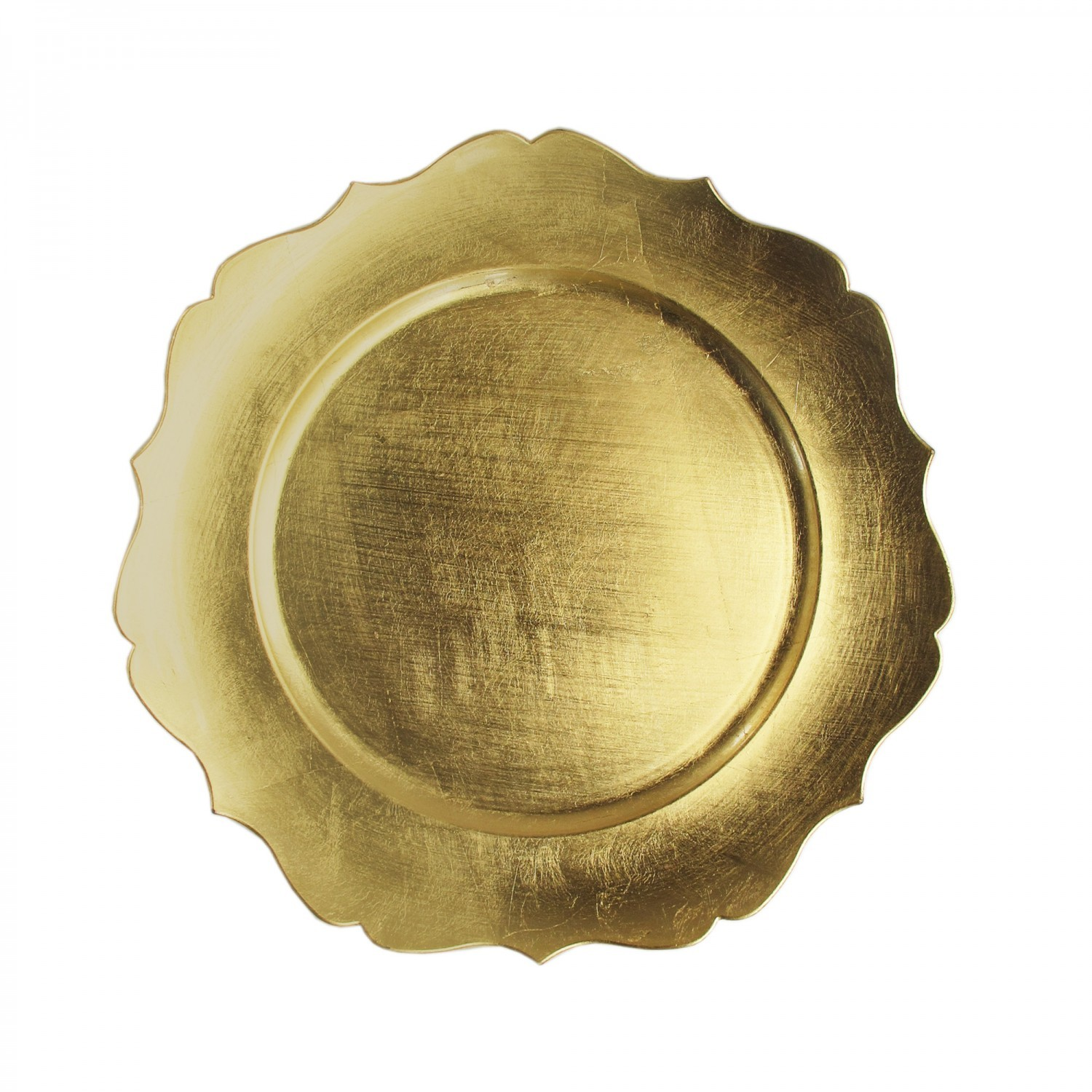 """TigerChef Round Gold Scalloped Edge 13"""" Charger Plate"""
