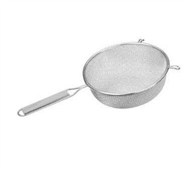 """Franklin Machine Products  226-1115 Tinned-Steel Double Mesh Strainer with Wood Handle 8"""" Dia."""