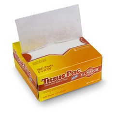 Tissue-Pac Lightweight Dry Waxed Interfolding Tissue, 6x10-3/4, White, 1000/Pack