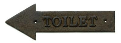 "TableCraft WCL Antique Bronze ""Toilet"" Arrow Sign, Left 11-1/2"" x 4"""