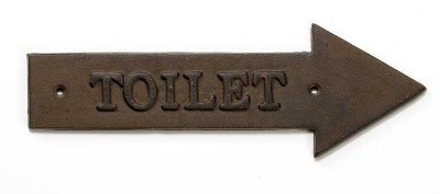 "TableCraft WCR Antique Bronze ""Toilet"" Arrow Sign, Right 11-1/2"" x 4"""