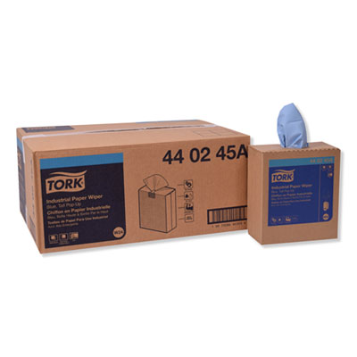 Tork Industrial 4-Ply Paper Wipers, Blue, Pop-Up Box, 8-1/2