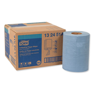 "Tork Industrial Paper Wiper, 4-Ply, Blue, 10"" x 15-3/4"", 4 Rolls/Carton"