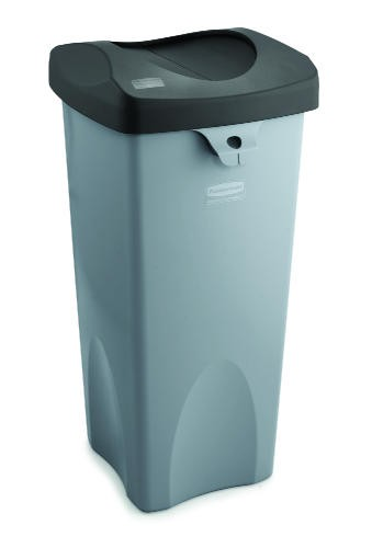Touch-Free Square Receptacle, 23 Gallon, Gray