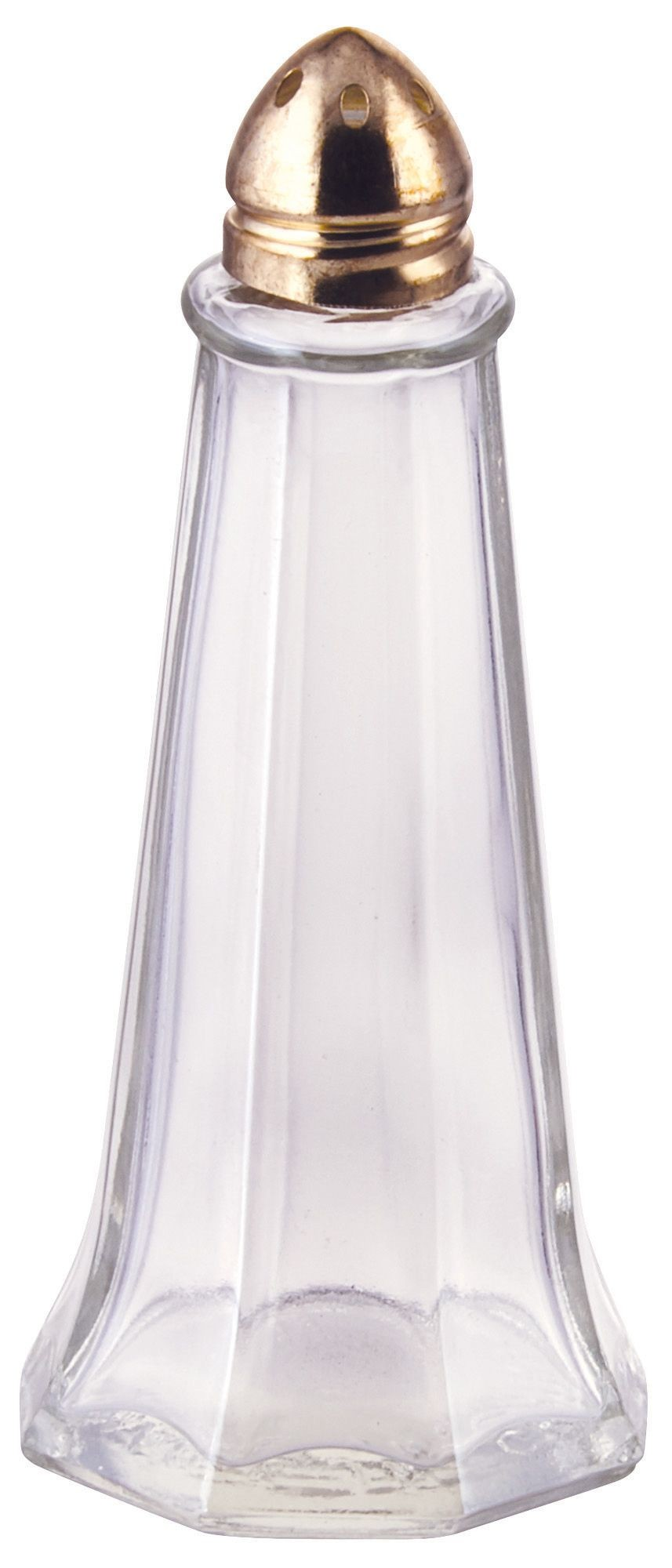 Winco G-111 Glass 1 oz. Tower Salt Shaker with Gold Top