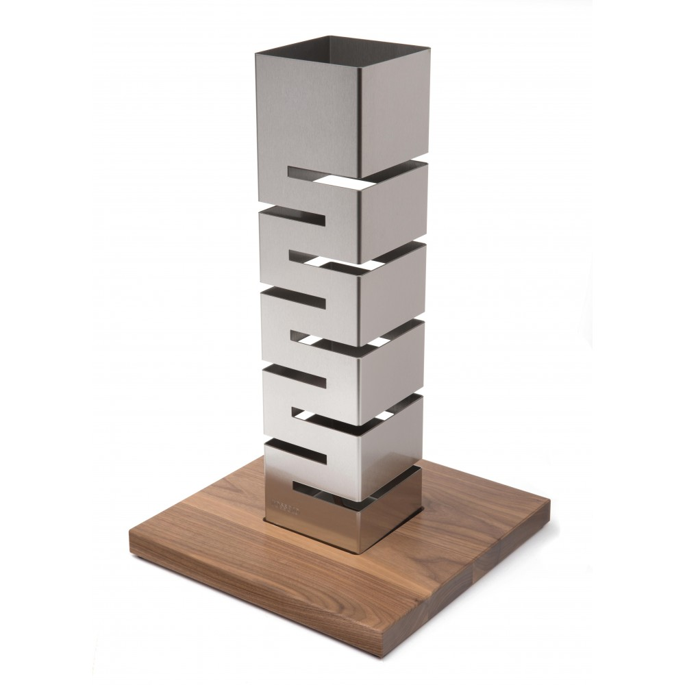 "Rosseto SM159 SKYCAP Stainless Steel Tall Column Multi-Level Riser with Walnut Base 13.75"" x 13.75"" x 22.5""H"