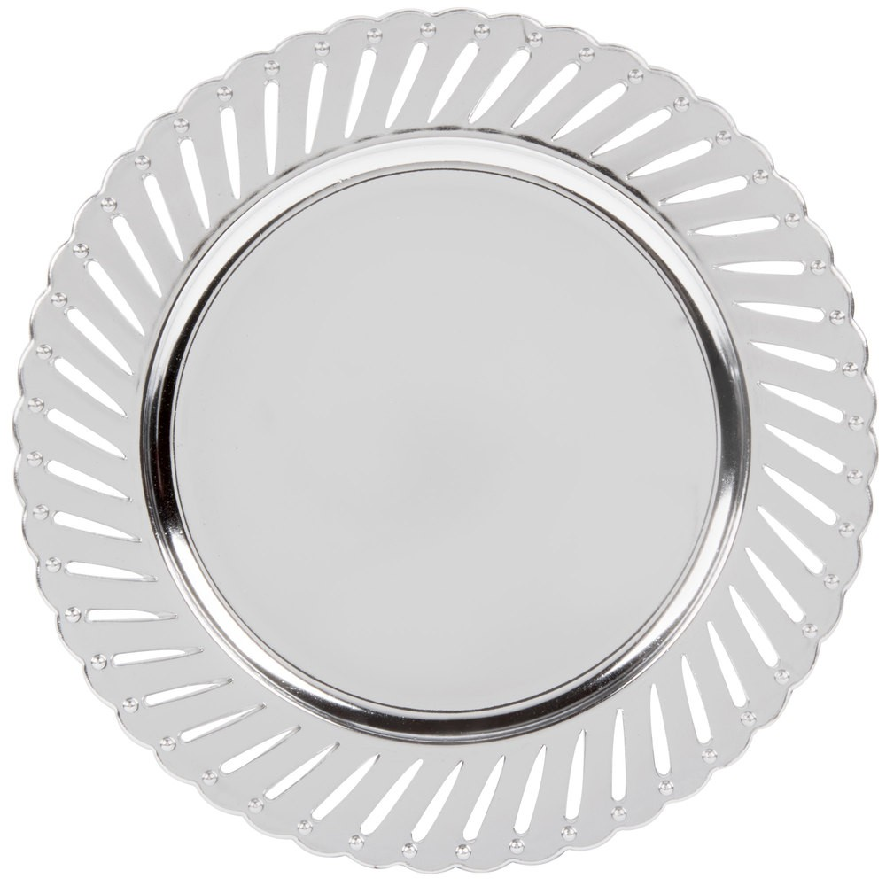 "Jay Import 1270251-4 Track Silver Melamine 13"" Charger Plate"