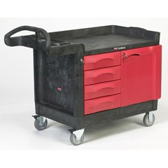 TradeMaster Cart w/4 Drawers/Cabinet, 49l x 26-1/4w x 38h, Black Structural Foam
