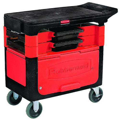 Trades Cart with Lock Cabinet, 38 X 19.25 X 33.4, Black