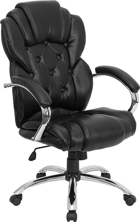Transitional Style Black Leather Executive Office Chair