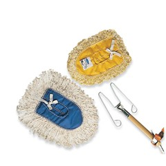 Trapper Wedge Dust Mop Head, White, Cut-End, Cotton