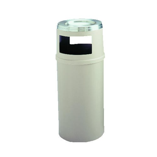 Trash Receptacle with Ashtray Top without Doors, 25 Gallon, Beige