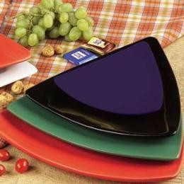 CAC China TRG-23-BLU Festiware Triangle Flat Plate, Blue 12 1/2""