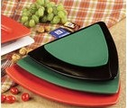 CAC China TRG-23GR Festiware Triangle Flat Plate, Green 12 1/2""