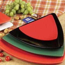 CAC China TRG-23-R Festiware Triangle Flat Plate, Red 12 1/2""
