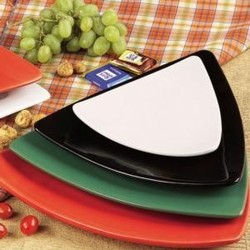CAC China TRG-23 Festiware Triangle Flat Plate, White 12 1/2""