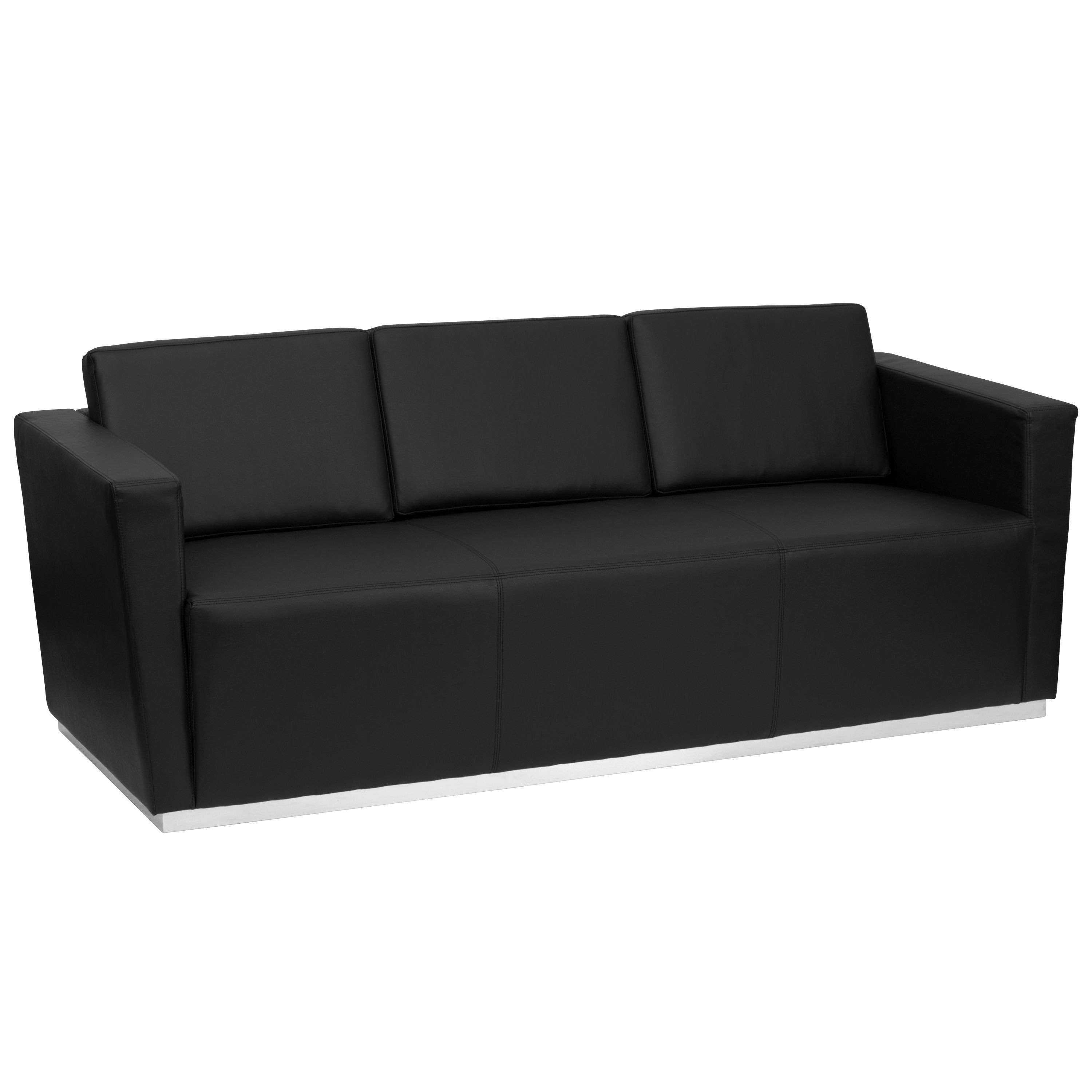 Flash Furniture ZB-TRINITY-8094-SOFA-BK-GG Trinity Series Contemporary Black Leather Sofa with Stainless Steel Base