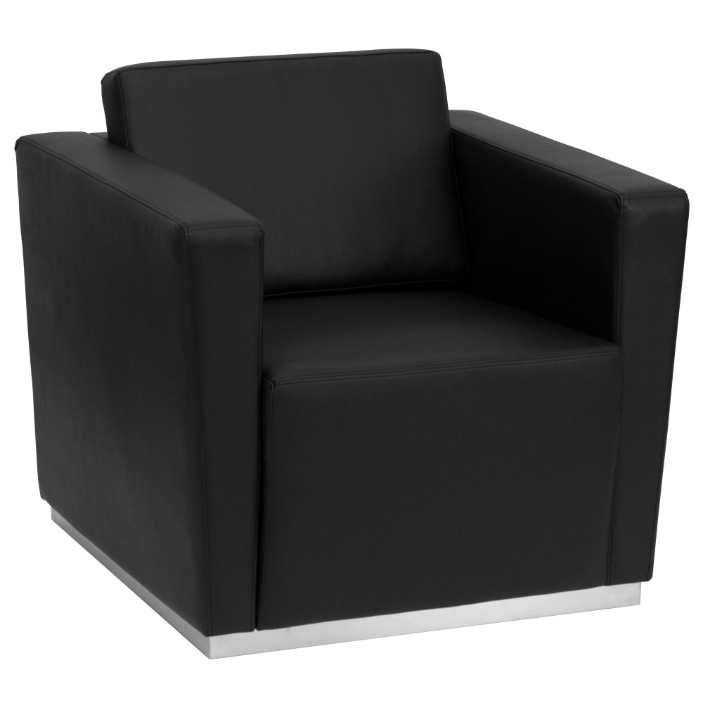 Flash Furniture ZB-TRINITY-8094-CHAIR-BK-GG Trinity Series Contemporary Black Leather Chair with Stainless Steel Base