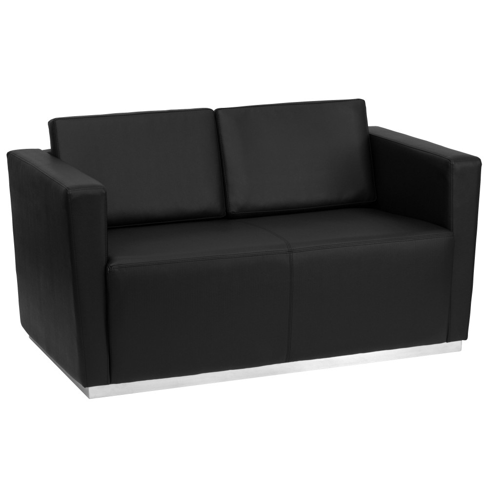 Trinity Series Contemporary Black Leather Love Seat with Stainless Steel Base