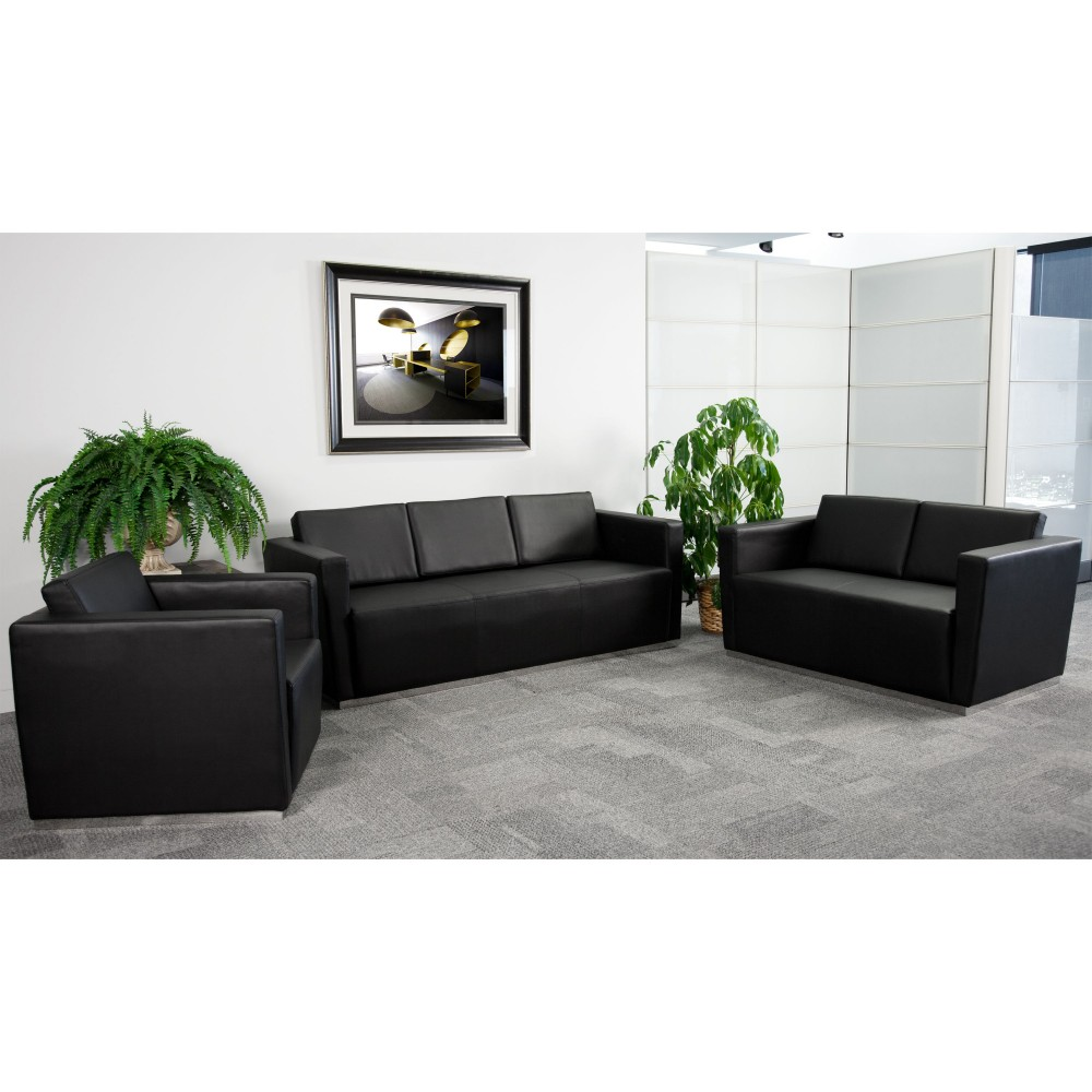 Flash Furniture ZB-TRINITY-8094-SET-BK-GG Trinity Series Reception Set