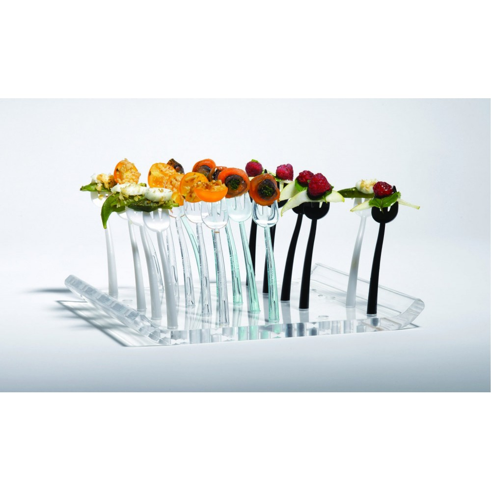 Trio Tray Holds 25 Trio Mini Forks Clear Acrylic- 9