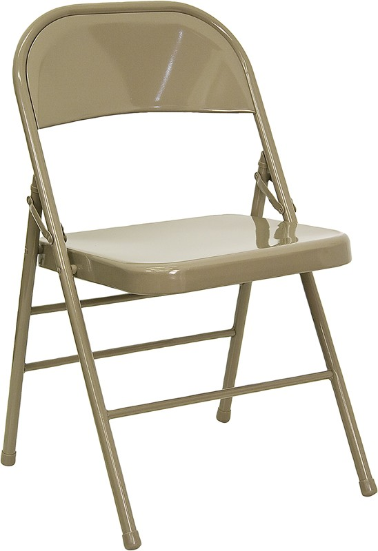 Flash Furniture HF3-MC-309AS-BGE-GG Triple Braced and Double Hinged Beige Metal Folding Chair