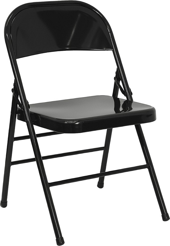 Flash Furniture HF3-MC-309AS-BK-GG Triple Braced & Double Hinged Black Metal Folding Chair