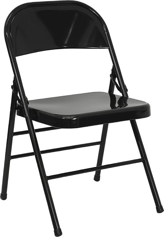 Flash Furniture HF3-MC-309AS-BK-GG Triple Braced & Double Hinged Black Metal Folding Chair