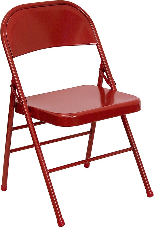 Triple Braced & Double Hinged Red Metal HERCULES™ Folding Chair