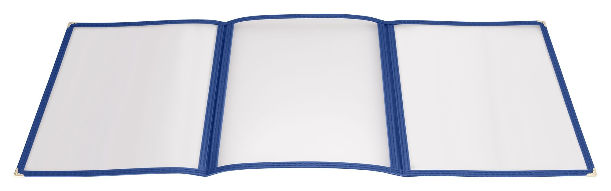 "Winco PMCT-9B Blue Triple Fold Menu Cover 9-1/2"" x 12"""
