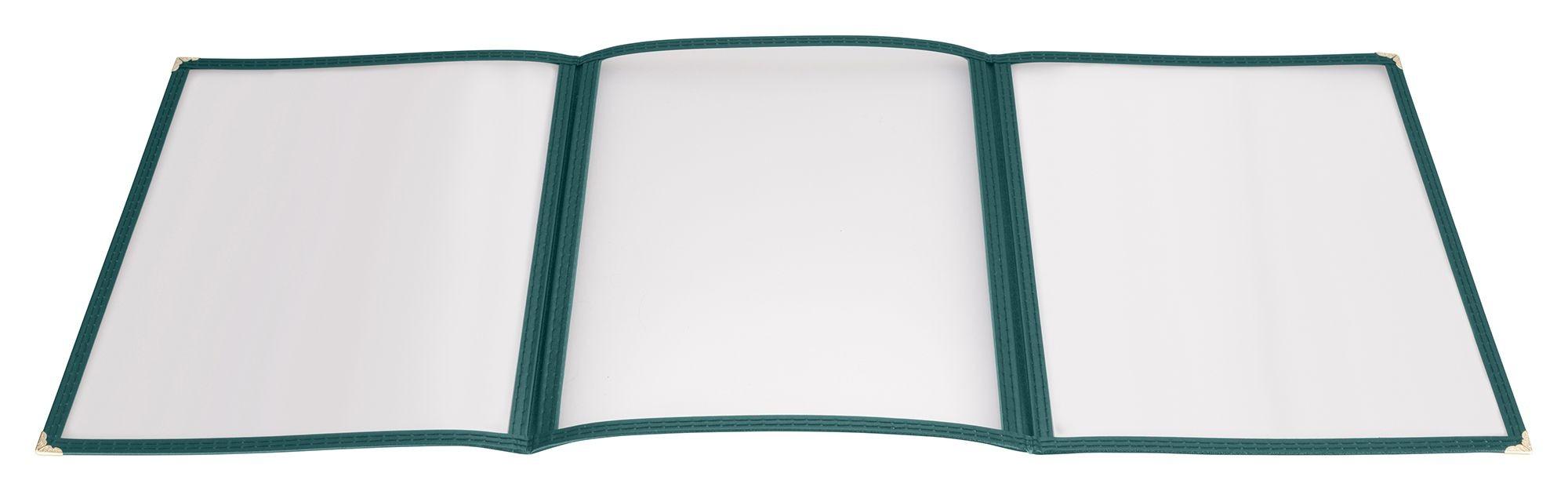 "Winco PMCT-9G Green Triple Fold Menu Cover 9-1/2"" x 12"""